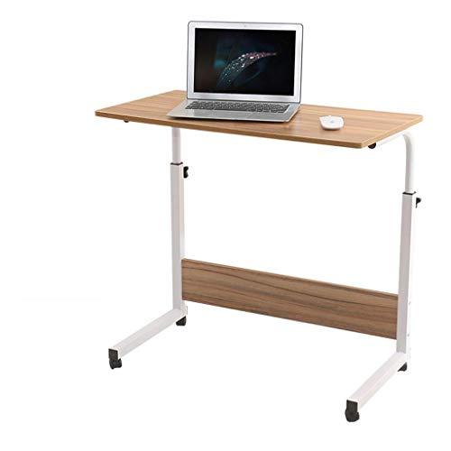 Mesa de escritorio para ordenador portátil, con altura ajustable y ruedas, color roble, 80 x 50 x 65 - 85 cm