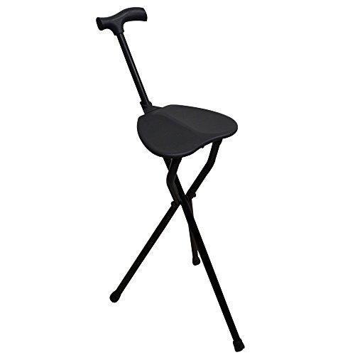 Schwarze Sitz (Gehstock mit Sitzfläche, Stativbeine, schwarzes Colo, belastbar bis 100 kg, aus sehr robustem Aluminium. Leicht. Ideal für ältere Menschen. Für Wanderungen geeignet. Für lange Spaziergänge geeignet.)