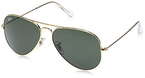 Ray-ban aviator, occhiali da sole unisex adulto, oro (l0205 gold), 58 mm