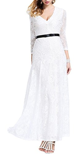 Bigood Robe Sexy Femme Tulle Dentelle Col V Longue Fleur Soirée Mariage Blanc