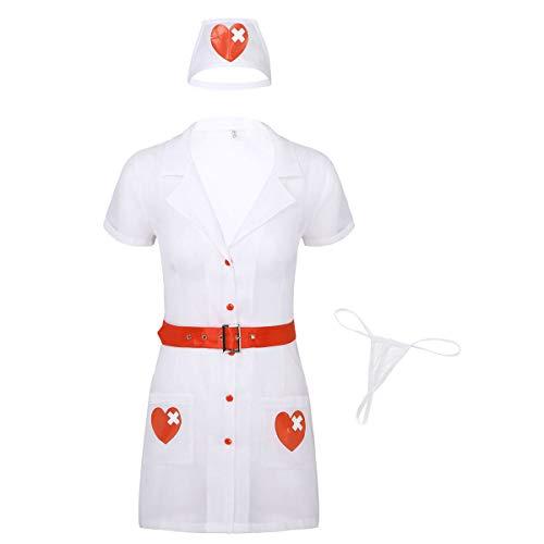 Kostüm Arzt Krankenschwester Paare - iiniim Damen Dessous Set Ärztin Krankenschwester Kostüm Babydolls Nachtkleid Doktor Arzt Kostüm Rollenspiel Reizwäsche Nachtwäsche Weiß S