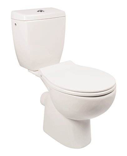 WC-Kombination ohne Spülrand | Stand-WC | Randloses WC | Inklusive Spülkasten und WC-Sitz mit Soft-Close-Absenkautomatik | Tiefspüler | Abgang waagerecht | Weiß