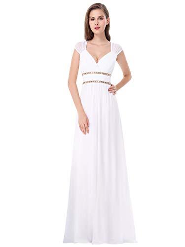 Ever-Pretty Vestiti da Damigella Donna Linea ad A Chiffon Scollo a V Senza Maniche Stile Impero Lungo Bianco 36