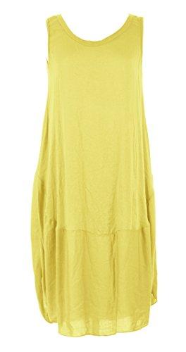 Ladies Women Italian Lagenlook Sleeveless Cocoon Hem Tunic Dress One Size (Lemon, One Size) (Kleid Silk Floral Sleeveless)