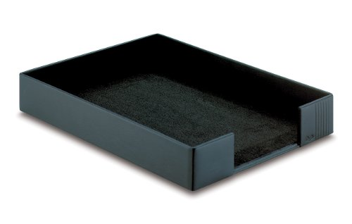 Brief-fach Klar (Läufer 35076 - Ambiente LA LINEA Briefkorb, 35 x 25, 5 x 5 cm, aus echtem Leder, schwarz)