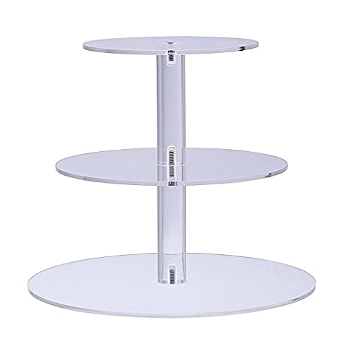 3-Tier Cupcake Stand Round Tower Dessert Display Acrylic Plate Party Serving Tray Great Supplies for Holiday Entertaining (Bonus Stable Pillars, Screw