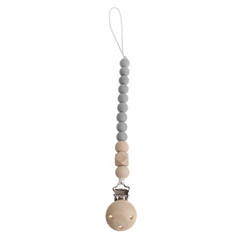 Fogun Baby Schnullerkette, Holz Baby Schnuller Clips Infant Schnullerkette Kleinkind Kauen Spielzeug Dusche Geschenke (Grau) - Kauen Schnuller-clip