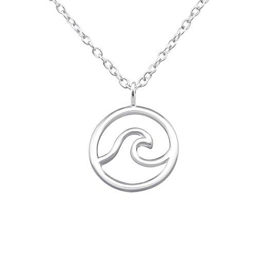 Monkimau 925 Sterling echt Silber Surfer Welle-n Hals-Kette Charm-s Anhänger Damen Kinder Mädchen Silberhalskette-n Schmuck Geschenk-e