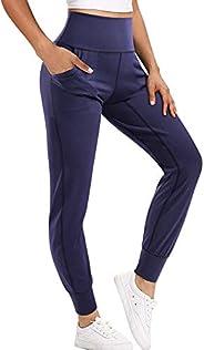 Chumian Pantaloni yoga jogging donna jogger pants Leggins sportivi vita alta con tasche Palestra Allenamento