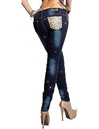 fashion boutik Jeans Bleu fonçé avec Strass et Paillettes Femme Sexy  Tendance 59beff772a6
