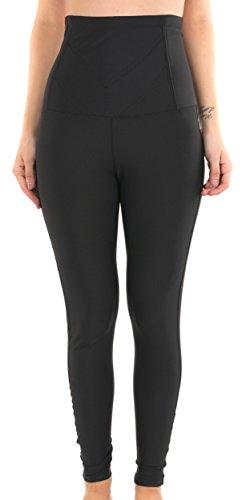 Leggings moldeadores de lycra para un vientre plano–efecto reductor del vientre, muslos y piernas–ceñido negro M/L