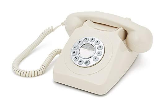 GPO 746PUSHIVO Klassisches Telefon im 70er Jahre Design Creme