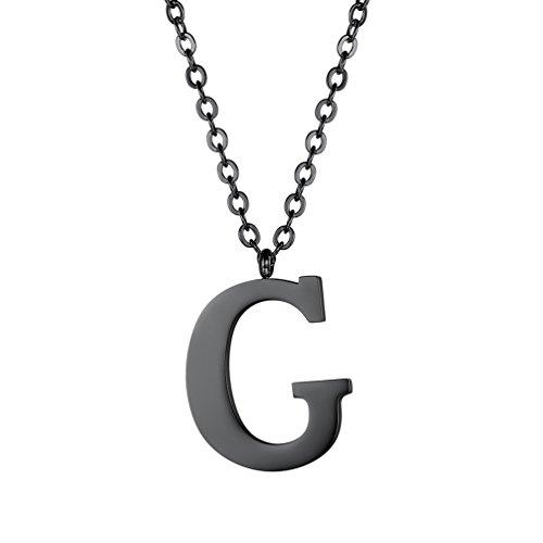 PROSTEEL Halskette Edelstahl Buchstabe G Alphabet Charme Anhänger Halskette Fashion Anfangsbuchstabe Modeschmuck mit 55cm Rolokette Schwarz