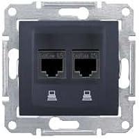 Schneider Electric SDN4800170 Toma Doble RJ45 Cat 6 UTP, Grafito