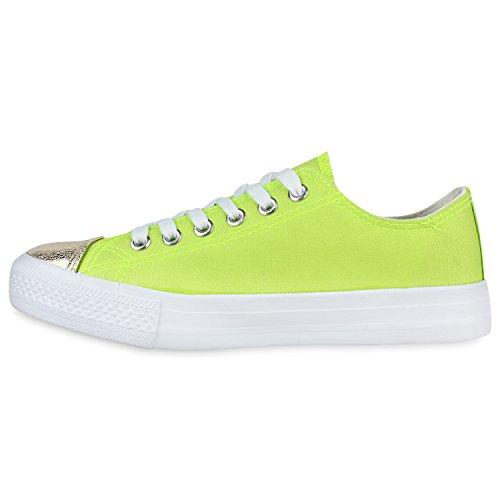 Modische Damen Sneakers Low Metallic Canvas Schuhe Freizeit Neongrün