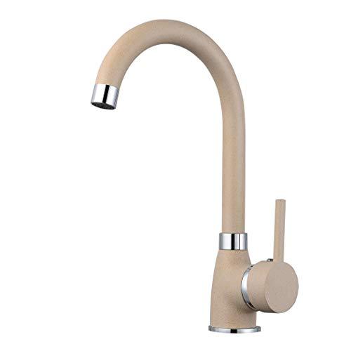 ZXC Moderne Hochdruck Schwanenhals Küchen Armatur Einhebel Mischbatterie Wasserhahn schwenkbar in Granit Beige