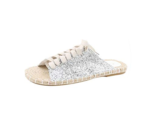 Blue Suede Fringe (Women Slippers Flip Flops Summer Flax Flat Bottom Leisure Lace Straw Knitting Shoes Beach Slides Sandals Casual Sliper,Silver,35)