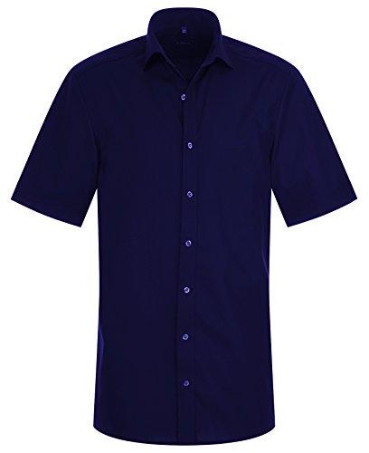 Eterna Half Sleeve Shirt Slim Fit Chambray Uni blu navy