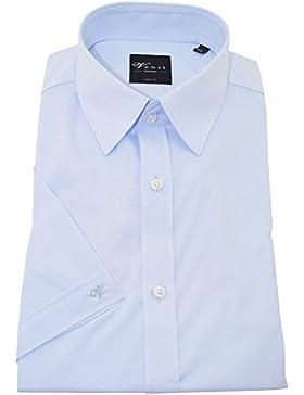 Venti Herrenhemd bodyfit blaues Hemd uni nah halbarm Kent Kragen ohne Tasche Size 44