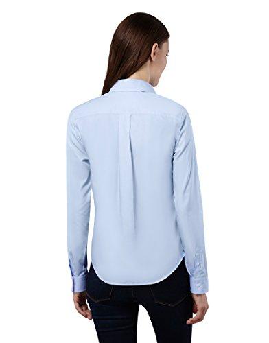 EMBRÆR Damen Bluse 100% Baumwolle mit Kontrasteinlage Casual-Fit - Normale Passform Langarm Hemdbluse Elegant Festlich Kent-Kragen Auch für Business und Unter Pullover Hellblau