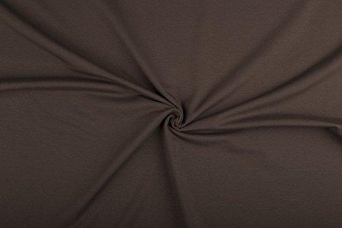 Leinen Lodge Sweat, Sommersweat, Meterware, Stoff, verschiedene Farben, UNI ab 0,5 m - Breite ca. 160 cm Öko-Tex Standard 100- spitzen Qualität (054 braun)