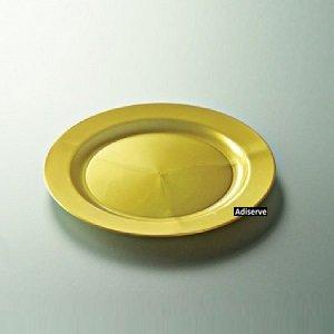 12 assiettes mariage jetables plastique couleur or nacré 24 cm - Adiserve -
