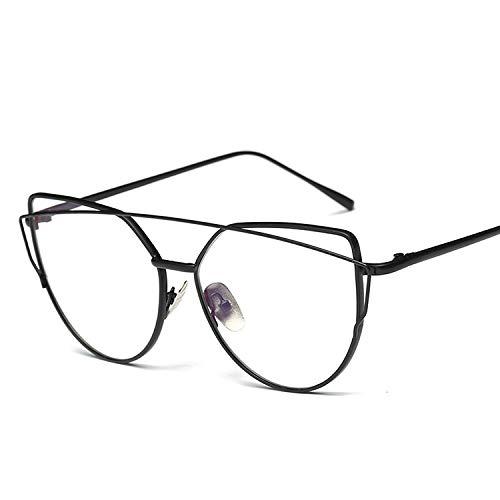 Yiph-Sunglass Sonnenbrillen Mode Frauen Metallrahmen Brillen Brillengestell ohne Rezept (Farbe : Schwarz)