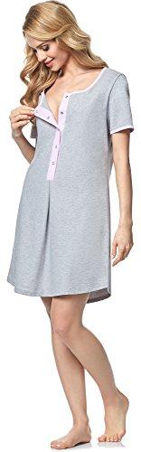 Italian Fashion IF Damen Nachthemd Zula 0114 Melange/Rosa
