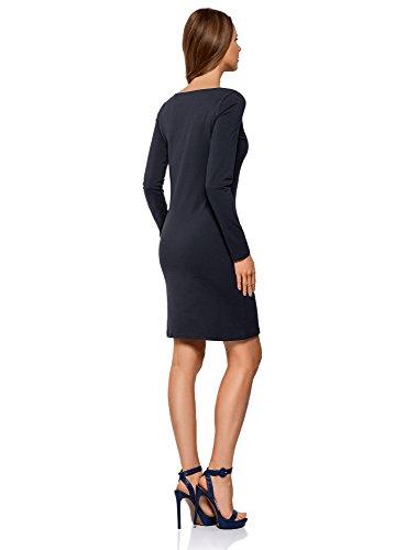 oodji Ultra Damen Enges Jersey-Kleid Blau (7902N)