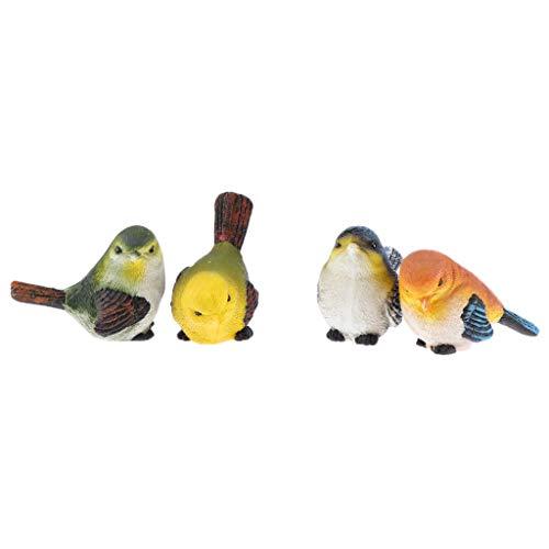 FLAMEER 4PCS Oiseau Artificiel en Résine Décoration Bureau Chambre à Coucher