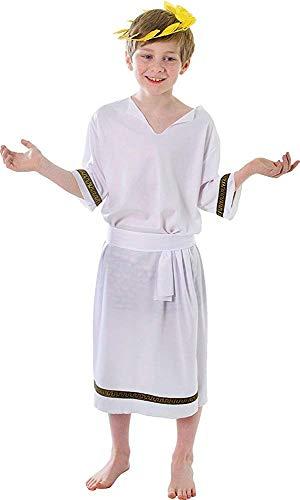 Julius Kostüm Kind Caesar - Onlysportsgear Kinder Römischer Kaiser Julius Toga König Outfit Cäsar Grichischer Jungen Kostüm - Weiß, Medium