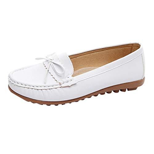 Lucky Mall Damenmode Schuh Lässige Bow Peas Schuhe, Ledermokassins Slip Driving Schuhe