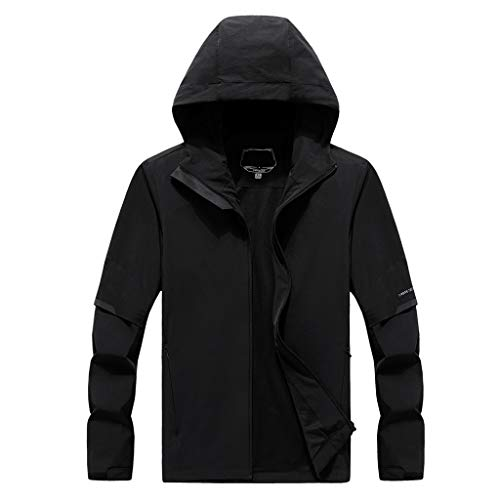 MOTOCO Herrenjacke Thin Stretch Single Layer Wasserdicht und Winddicht Klettern üBergroße Atmungsaktive Elastische Sport Outdoor Mantel(5XL,Schwarz)