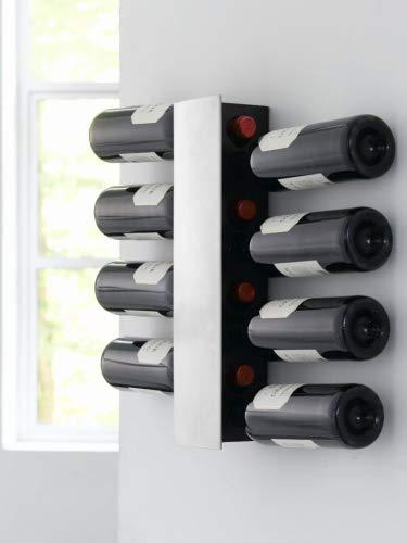 Steel-Function - Portabottiglie da muro in acciaio inox, per 8 bottiglie, colore: Argento