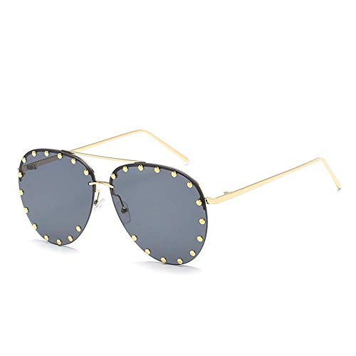 Wagonste - Romantische Italien-Art-Maxi-Diamant-Sonnenbrille-Frauen-Retro-Marken-Entwerfer-große Feld-Sonnenbrillen Weibliche Silber Brillen [Typ 1]