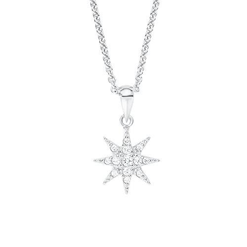 s.Oliver Damen-Kette mit Anhänger Polar-Stern 925 Silber rhodiniert Zirkonia weiß 45 cm