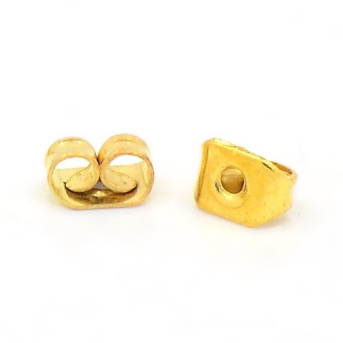 100 Ohrmutter Metall Verschluss für Ohrstecker Ohrring Stopper 5mm Gold F86 - Gold-ohrring-stopper