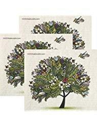 SWEDEdishcloths Tropischer Baum 3er Set je Schweden-Tücher - Umweltfreundliches, saugfähiges Reinigungstuch, Wiederverwendbare Reinigungstücher -
