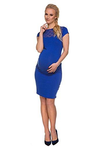 My Tummy Mutterschafts Kleid Umstands Kleid Etuikleid Coco Polka Dot Mesh kobalt blau S (small)