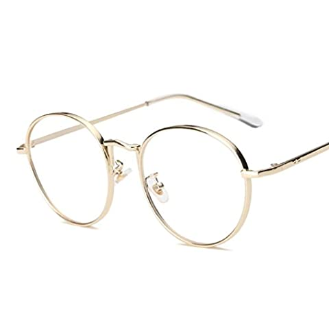 Xiahbong Clear Lens Retro Kröte Flache Spiegel Gläser Metallrahmen Myopie Brillen (Golden)
