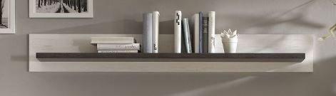 Wohnwand mit Elektrokamin – Pinie weiß - 6
