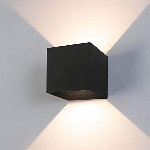 12w lampade da parete per interni/esterno led moderno, applique da parete muro in alluminio angolo,lampada muro su e giù regolabile design ip65 impermeabile 3000k bianco caldo