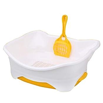 Wcx Rotin Toilette Chat,Amovible Chats Loo Jante Plastique Animal Compagnie Toilette Couche Double Semi-fermé Petit Provisions (Couleur : Le Jaune, Taille : 58X37X21cm)