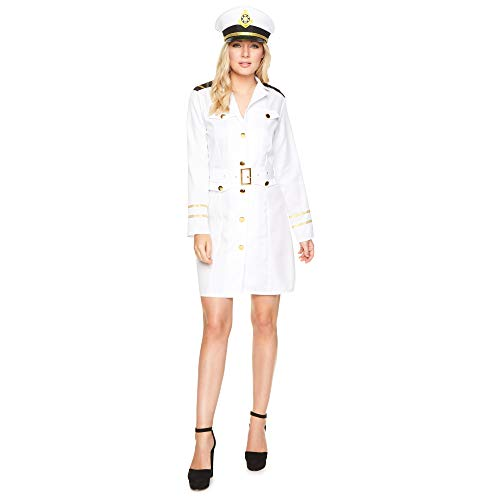 Karnival 81059Navy Officer Kostüm Mädchen, Frauen, weiß, ()