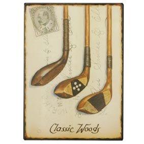 Clayre&eef BBL165 ---- Schild Blechschild Metallschild --- Carta de Postale --- Classic Woods Golfschl�ger Holz ---- ca 18 x 13 cm