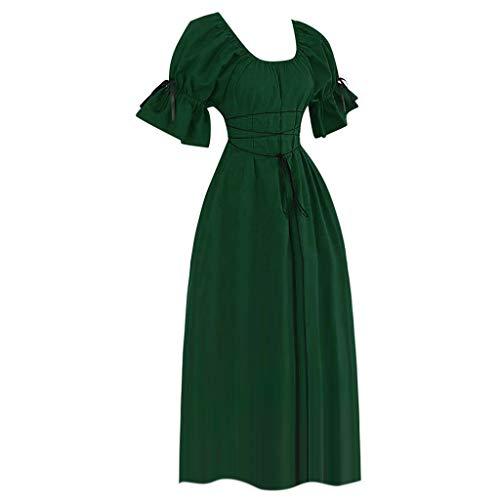 en Gothic Kleid Renaissance Cosplay Kostüm Kurze Ärmel Prinzessin Kostüme Piebo Vintage Rockabilly Kleid Lace Up Abendkleid Cocktailkleid Maxikleid Karneval Festlich Party ()