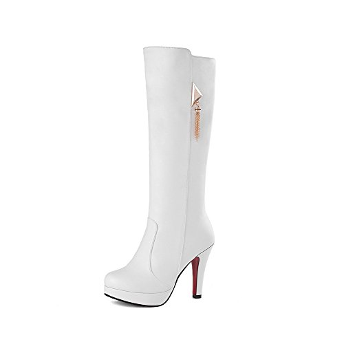 AgooLar Damen Knie Hohe Ziehen Auf Blend-Materialien Hoher Absatz Rund Zehe Stiefel Weiß