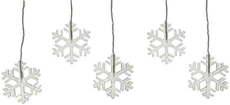 COSYLUX® LED Vorhang mit Arycl Schneeflocken warmweiß Batterie betrieben mit Timer und Saugnäpfen für Innen und Außen Weihnachten Winter Aprés-Ski