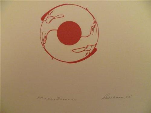 Male, Female. Lithographie. (19)83. Durchmesser ca. 10 cm, Blattgr. ca. 26 x 32 cm.
