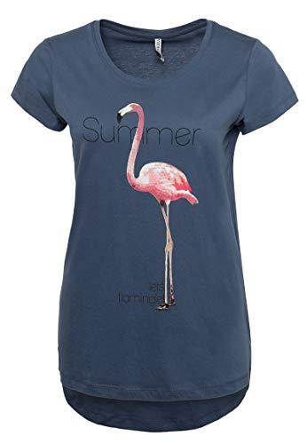 Vintage-print T-shirt Damen (Stitch & Soul Damen T-Shirt mit Flamingo Print   Elegantes Sommer Basic Shirt mit kurzen Ärmeln Middle-Blue L)